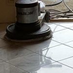 Marble and granite floor being cleaned and polished